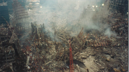 Looking down on Ground Zero Tower1 on left Tower 2 on right from 200 Vesey Street