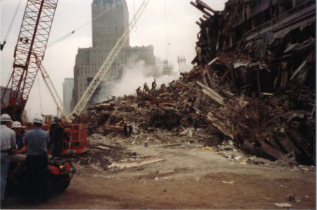 Looking North on West Street at Ground Zero towards 140 Liberty Street