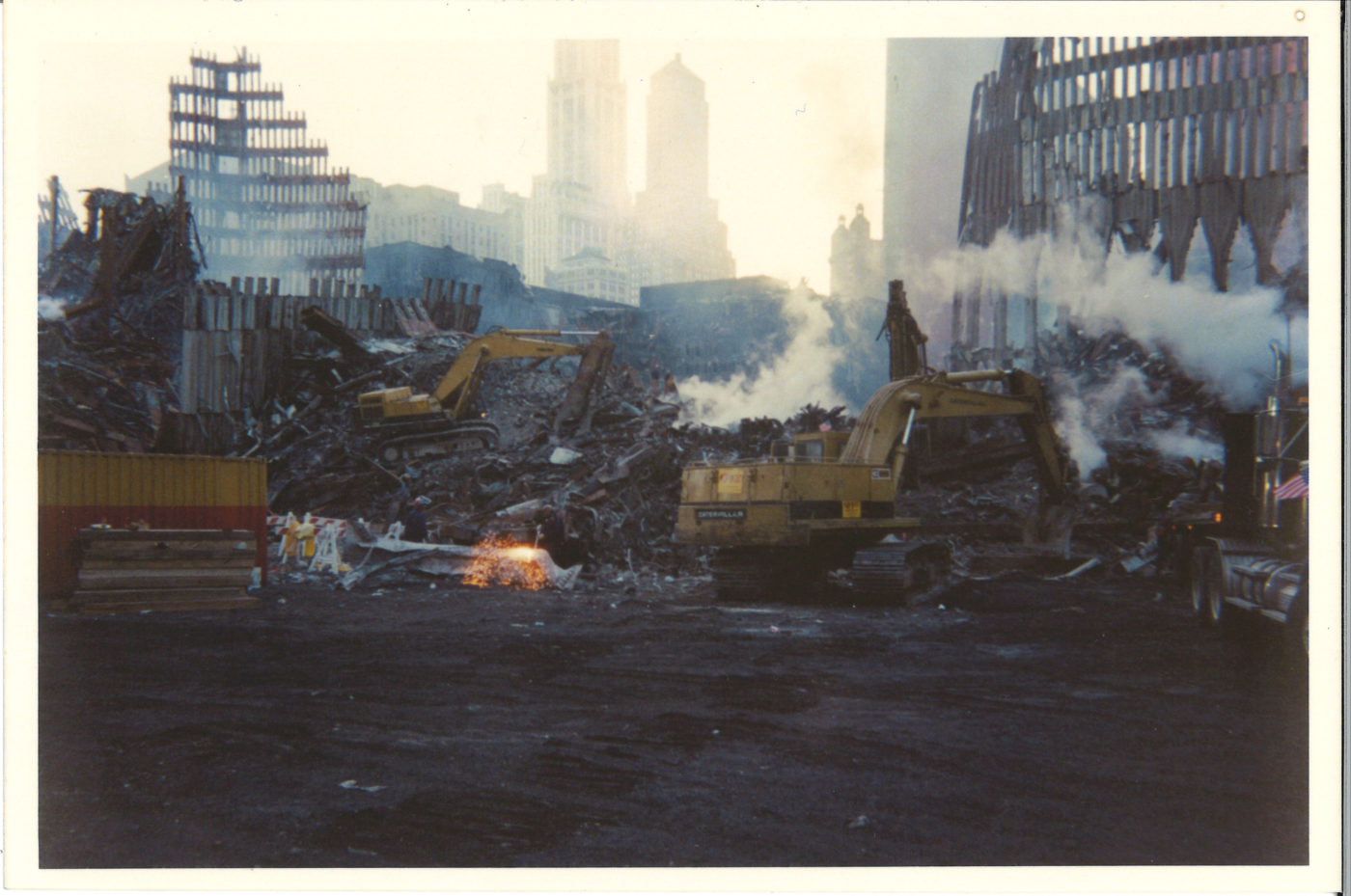Looking northeast towards Ground Zero with remains of Tower 1 on left and Tower 2 on right