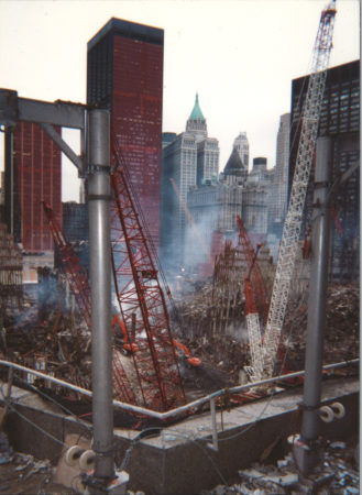 Looking southeast at Ground Zero with Tower 1 remains on left and Tower 2 remains on right