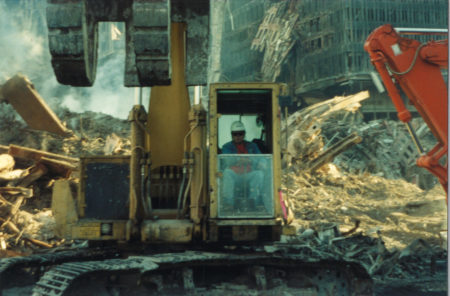 Man Working in a Digger at Ground Zero