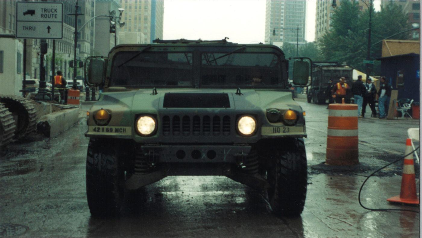 Military Humvee in the Rain