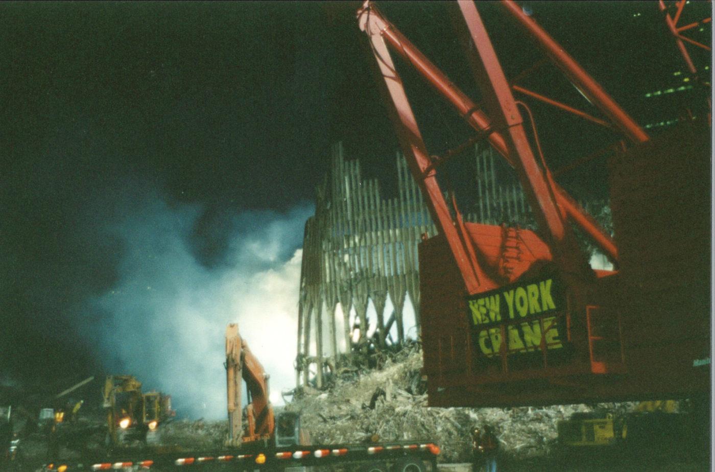 New York Crane working at ground zero late at night