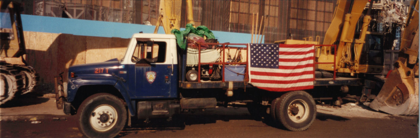 NYPD Truck with the American Flag