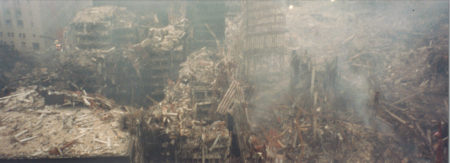 Overview of Destruction at Ground Zero with Smoke