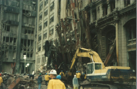 Part of the WTC Exoskeleton Against 90 West St