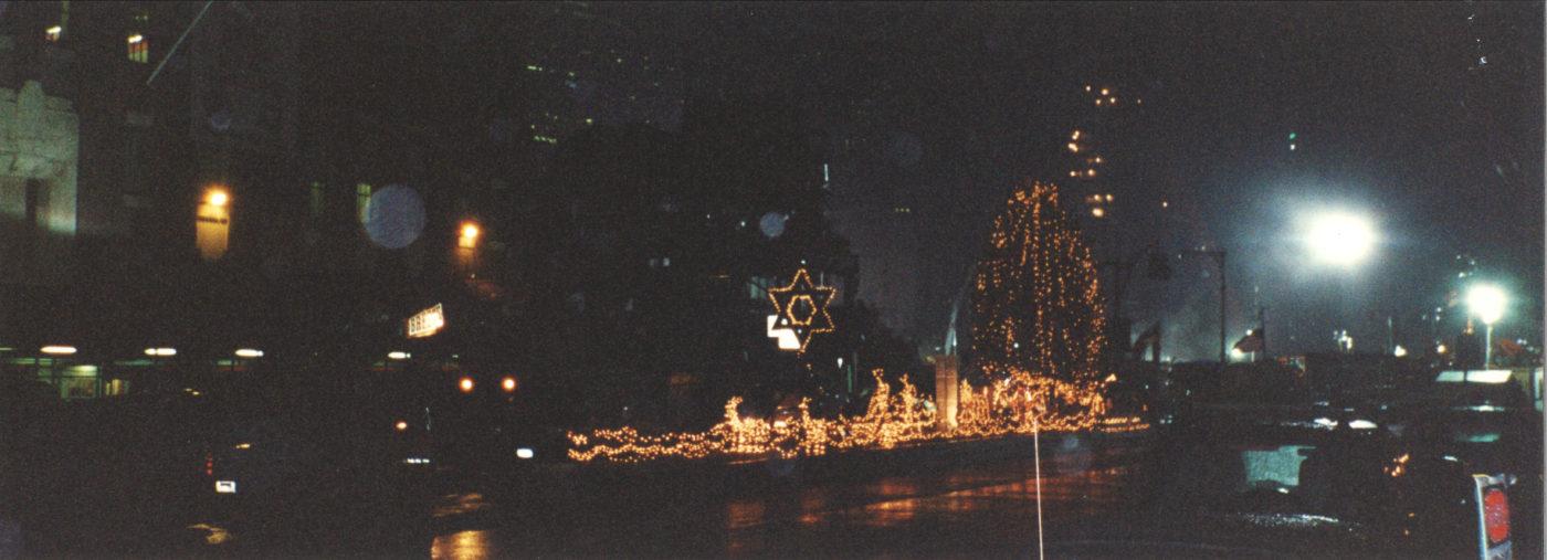 Photo of Christmas and Hanukkah Lights Near Ground Zero