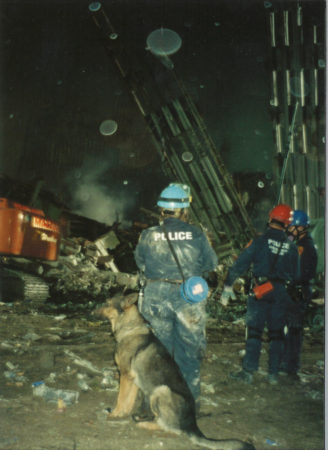Police with dog at Ground Zero at Night