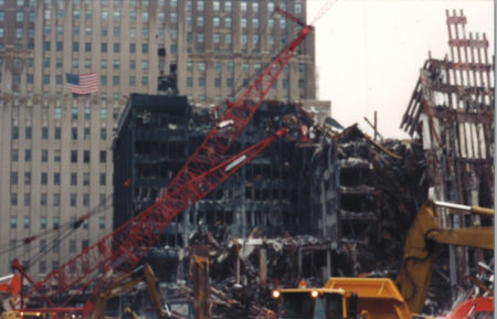 Remains of Tower 1 with 140 Liberty Street in background