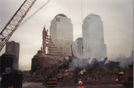 Remains of Tower 2 in front of 200 Vesey American Express building towers