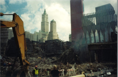 Rubble and Debris with The Woolworth and Transportation Building in the Back and the Millenium Hotel to the Right