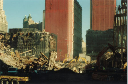 Rubble at Ground Zero with WTC 4 and 5 Falling Down