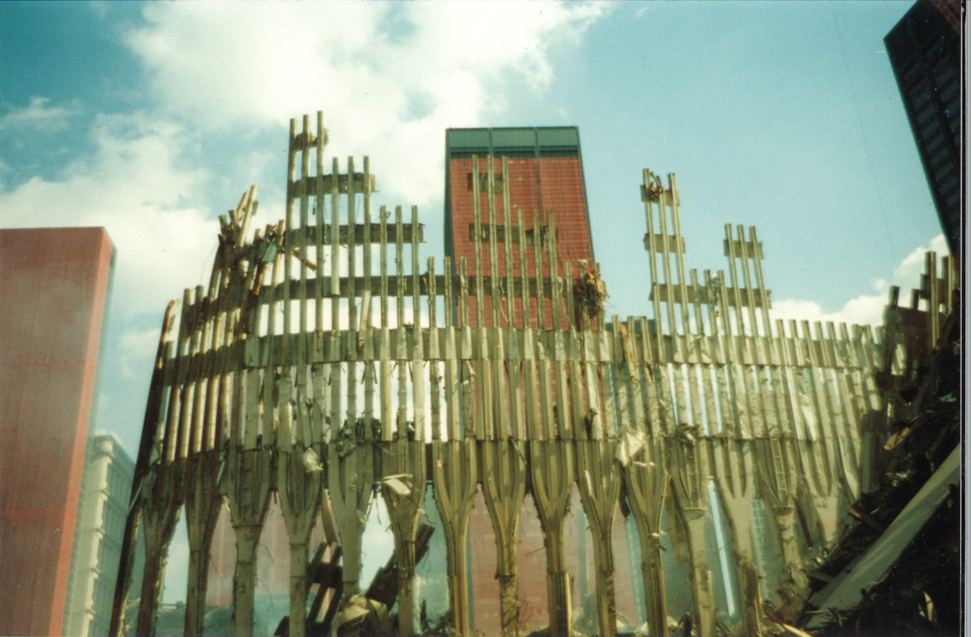 Shot of the WTC EXoskeleton with One Liberty Plaza in the Background