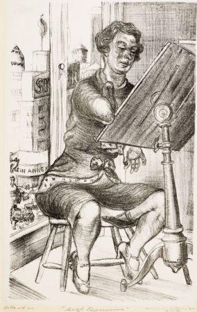 "Lithograph of Minna Citron, ""Self-Expression"" (1932), lithograph, 13 1/2″ x 8 3/8″. Collection of Christiane H. Citron, Denver, CO."