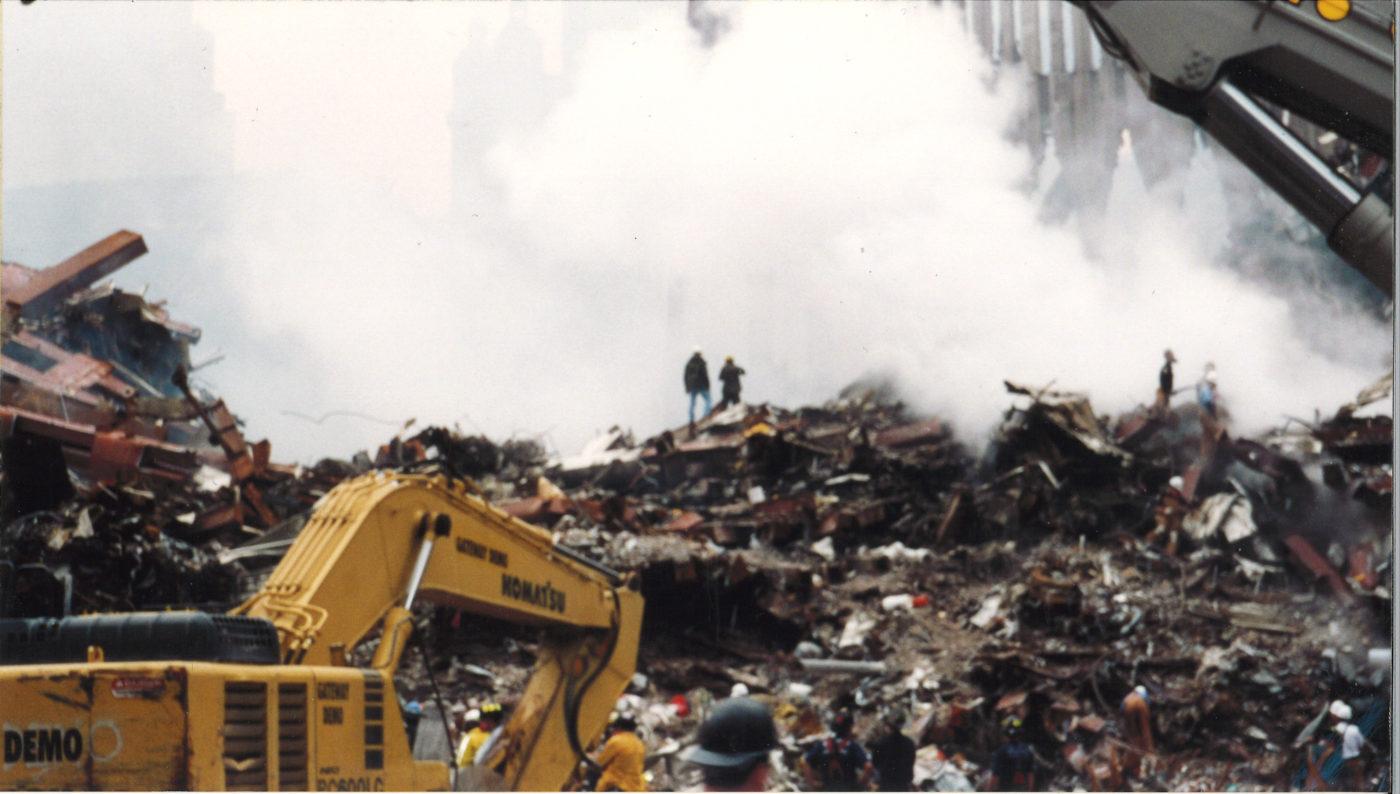 Smoke Pouring Over Debris at Ground Zero