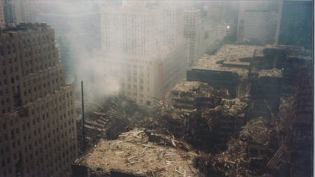 Smoke Pouring Over Destroyed WTC 5, 6, 7 with 140 West St to the Right
