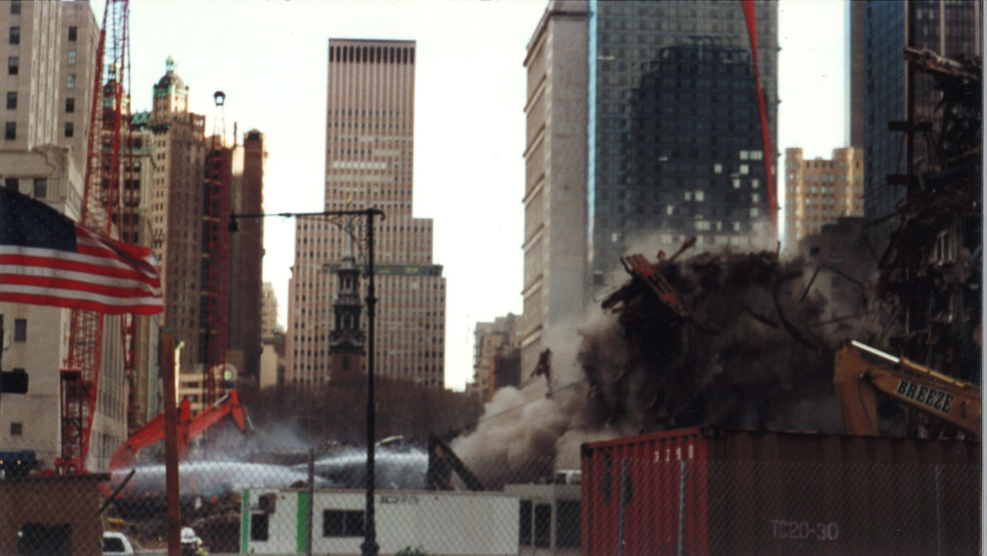 Smoke Rising over Ground Zero with St. Paul_s Spire and the Western Electric Building in the Background
