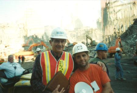 Two Unknown Workers Take a Photo at Ground Zero, One is Wearing a Gotlieb Hard Hat