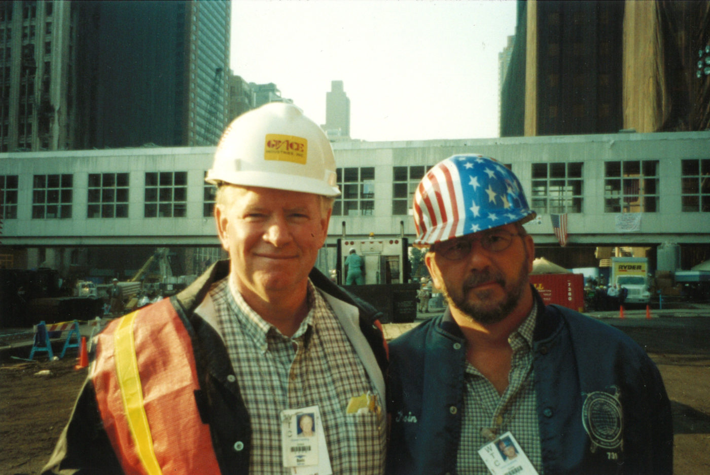 Two Unknown Workers Take a Photo at Ground Zero,, One is Wearing an American Flag Hard Hat