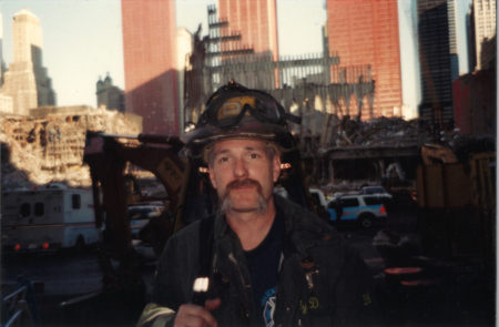 Unknown Firefighter in front of Ground Zero