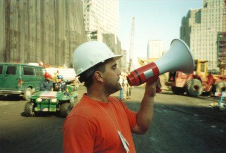 Unknown Worker at Ground Zero with megaphone