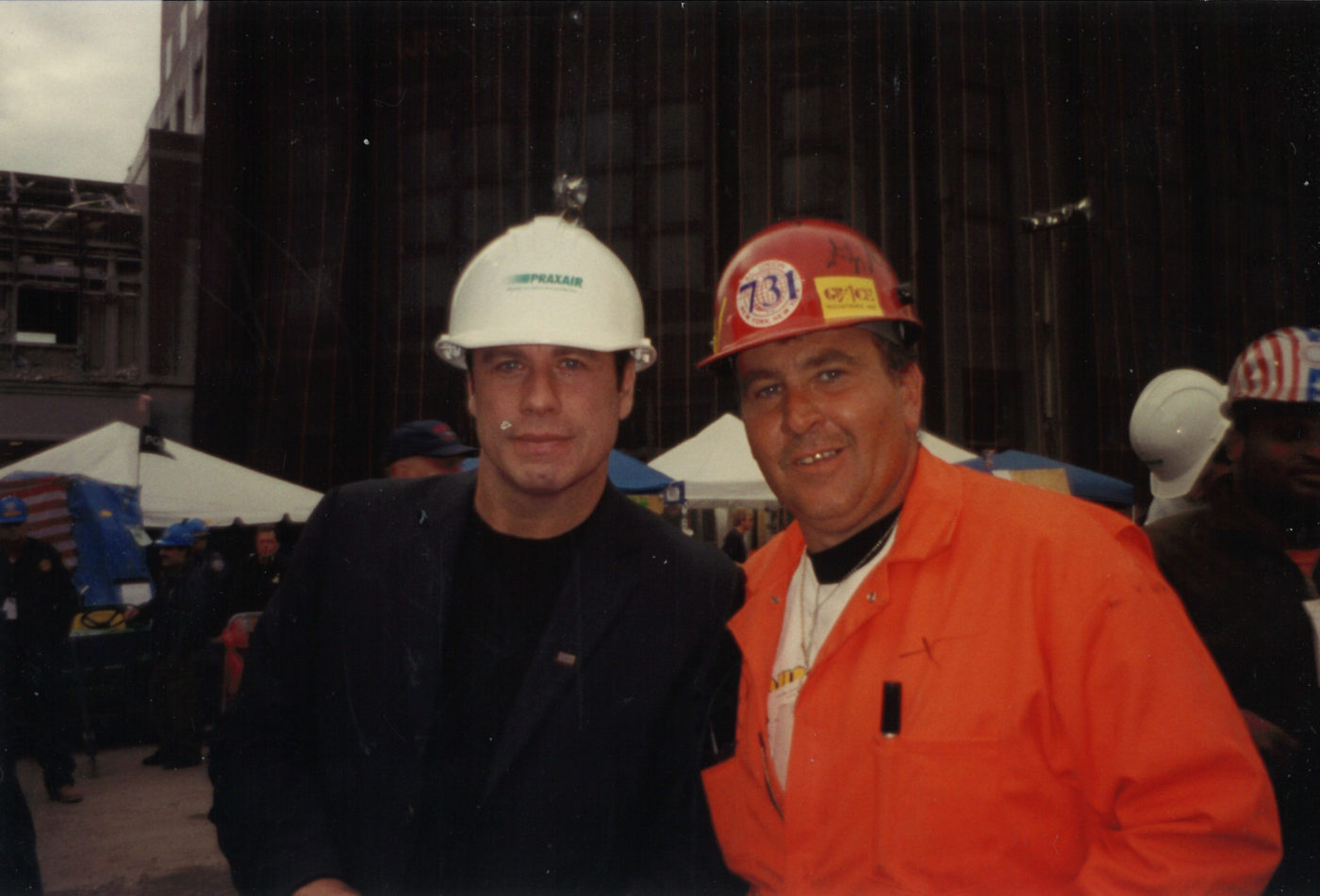 Unknown Worker from Local 731 with John Travolta at Ground Zero