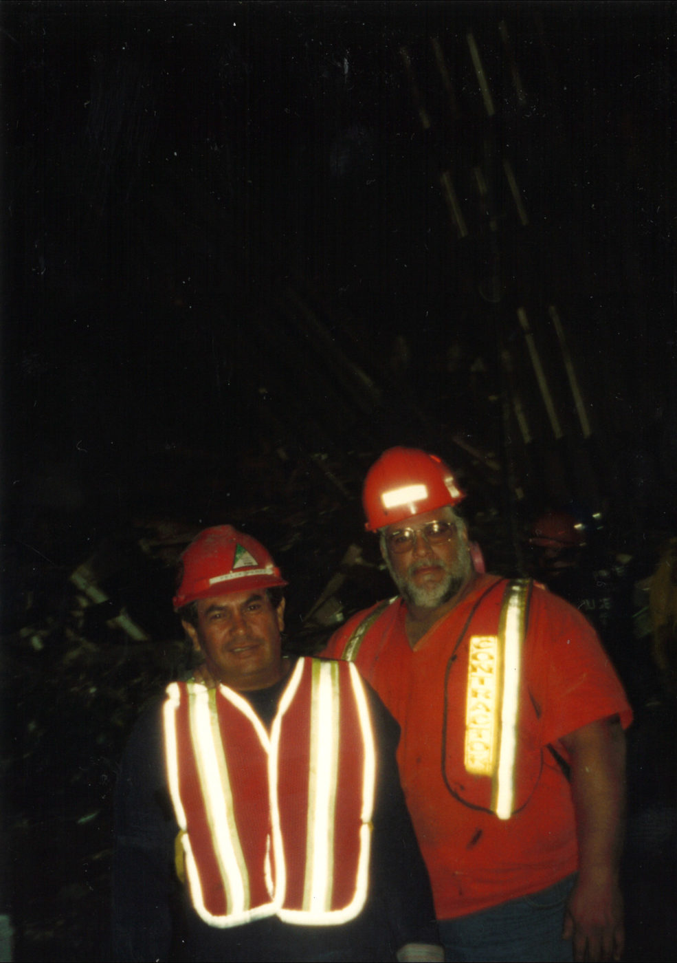 Unknown workers at night at Ground Zero