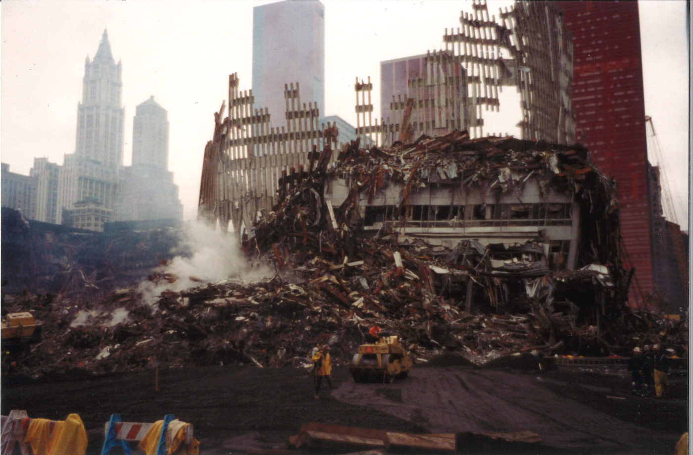 Work Continuing Around Falling Debris from WTC Structure