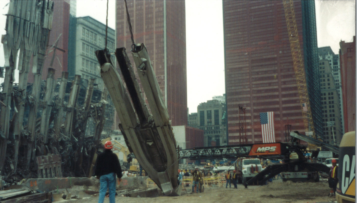 Worker Watching a Crane Hoist a Piece of the WTC Exoskeleton