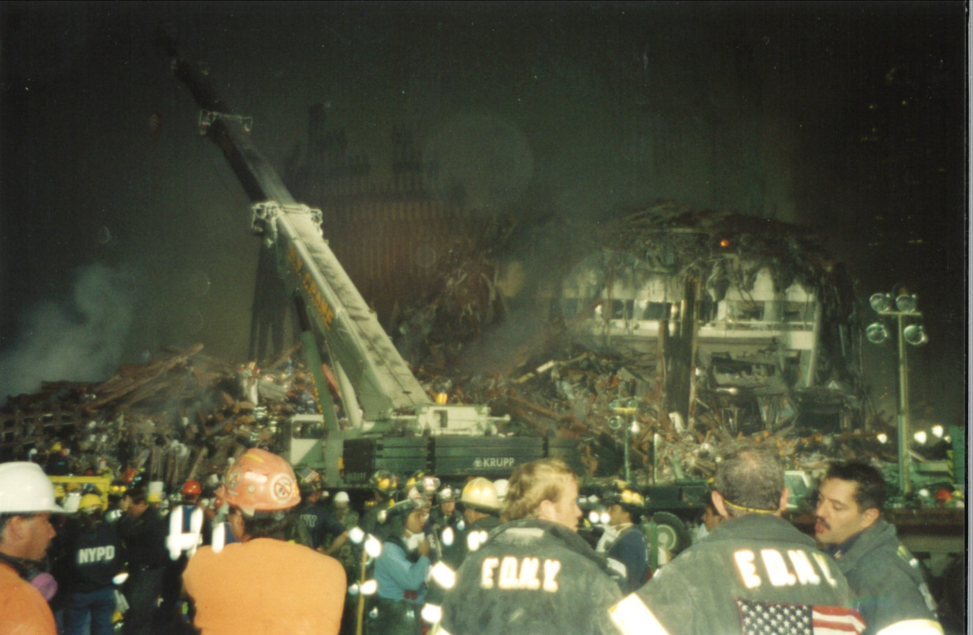Workers and the FDNY working at Night