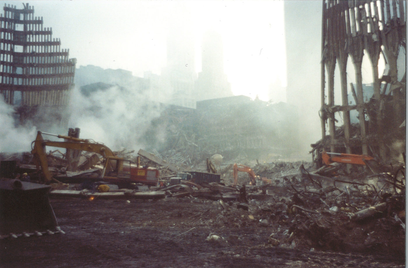 WTC 1 and 2 Exoskeletong with Destroyed WTC5 in the Middle