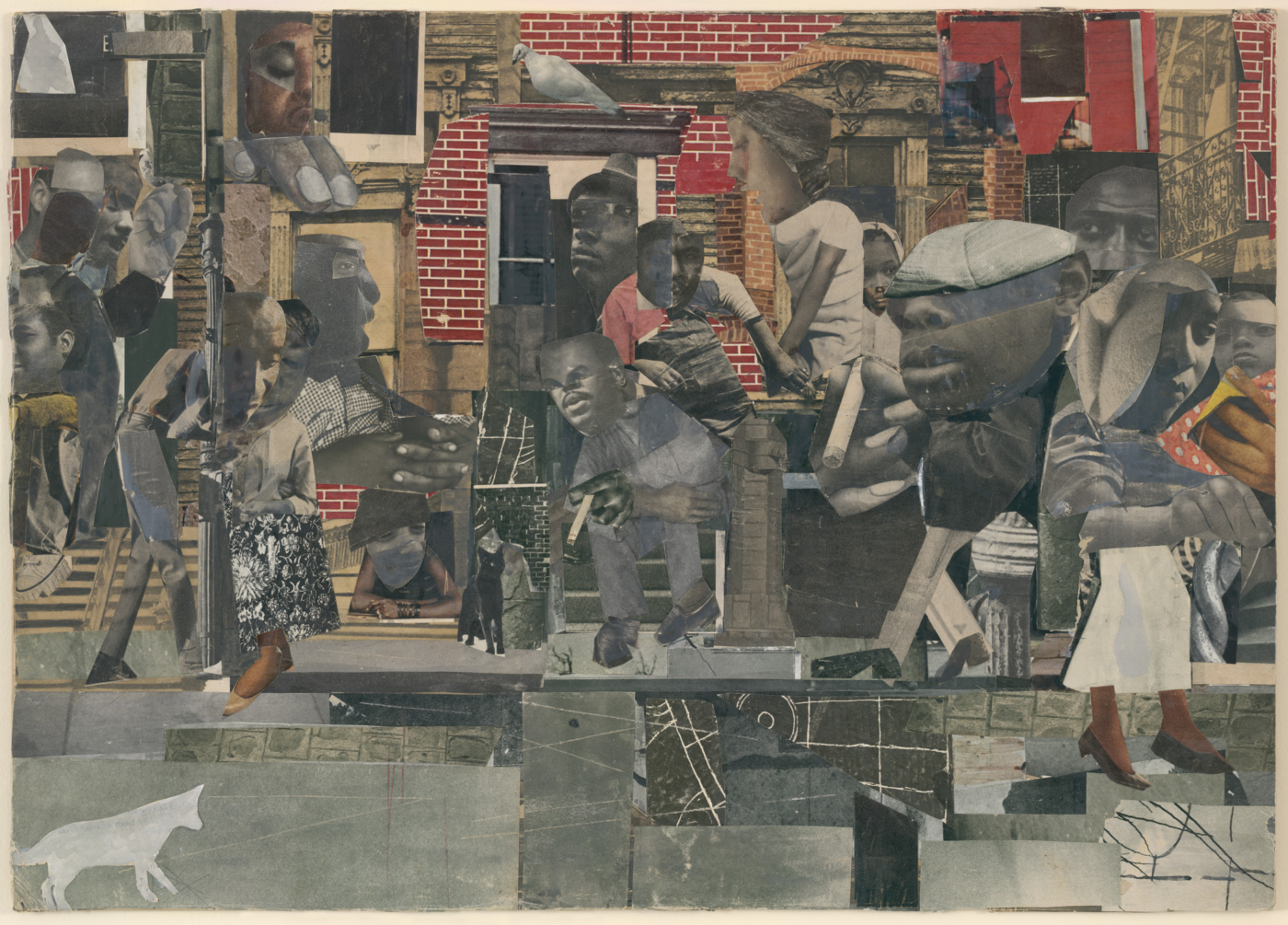 Romare Bearden. The Dove. 1964. Cut-and-pasted printed paper, gouache, pencil, and colored pencil on board, 13 3/8 × 18 ¾.″ Courtesy Museum of Modern Art, Photo by Thomas Griesel.