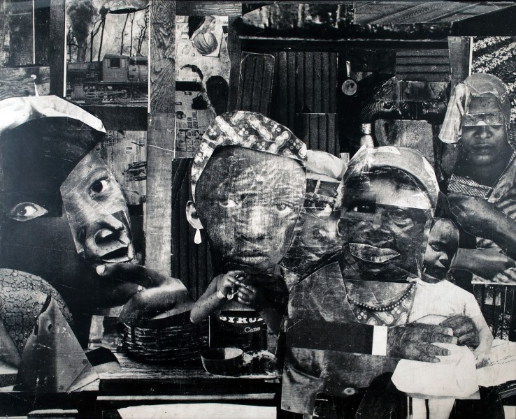 "Romare Bearden. Mysteries II. 1964. Gelatin silver print (photostat) mounted on fiberboard, 50.5 x 62.5"". Courtesy DC Moore Gallery."