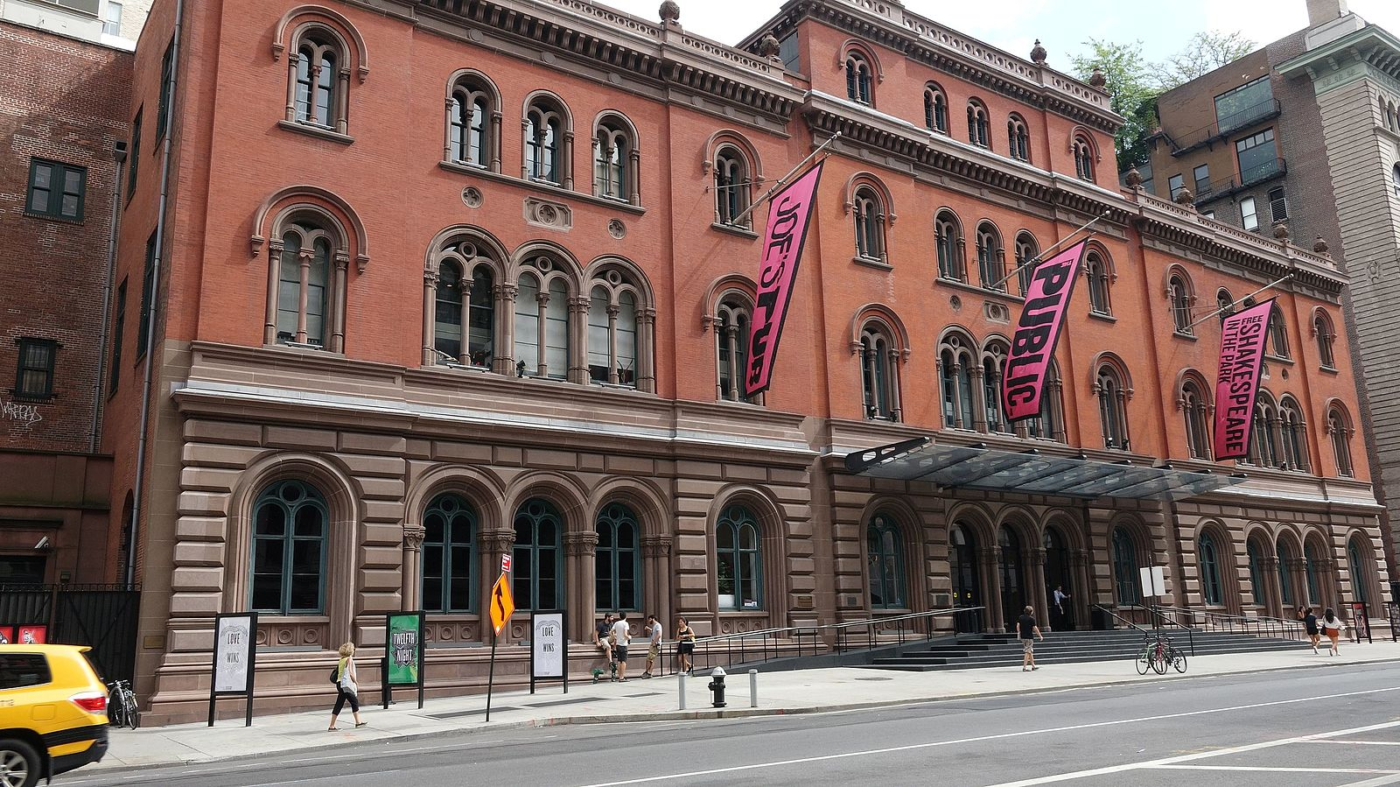 425 Lafayette Street, the Public Theatre and first location of Cinque Gallery in August 2016. Photo courtesy Wikimedia Commons.