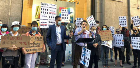 Village Preservation's Juan Rivero speaking at yesterday's rally with Christopher Marte and Congressmember Jerrold Nadler.