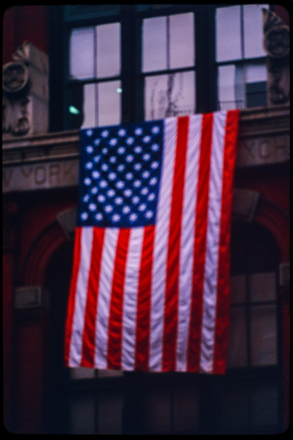 American Flag Displayed Over the Center Windows at 2-6 Harrison Street, the (Now Former) New York Mercantile Exchange Building.jpg