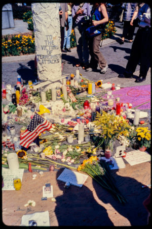 Artwork, Prayer Cards, Flowers, and Candles at the Memorial for Victims of 911 Attack, Union Square Park.jpg