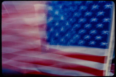 Close Up of a Backwards American Flag, Possibly in a Window.jpg