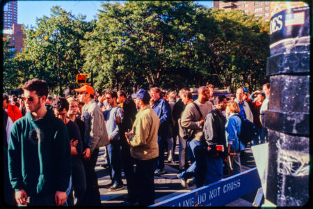 Crowds of New Yorkers and Pedestrians in Road Near Chambers and Hudson Streets, Police Barricade.jpg