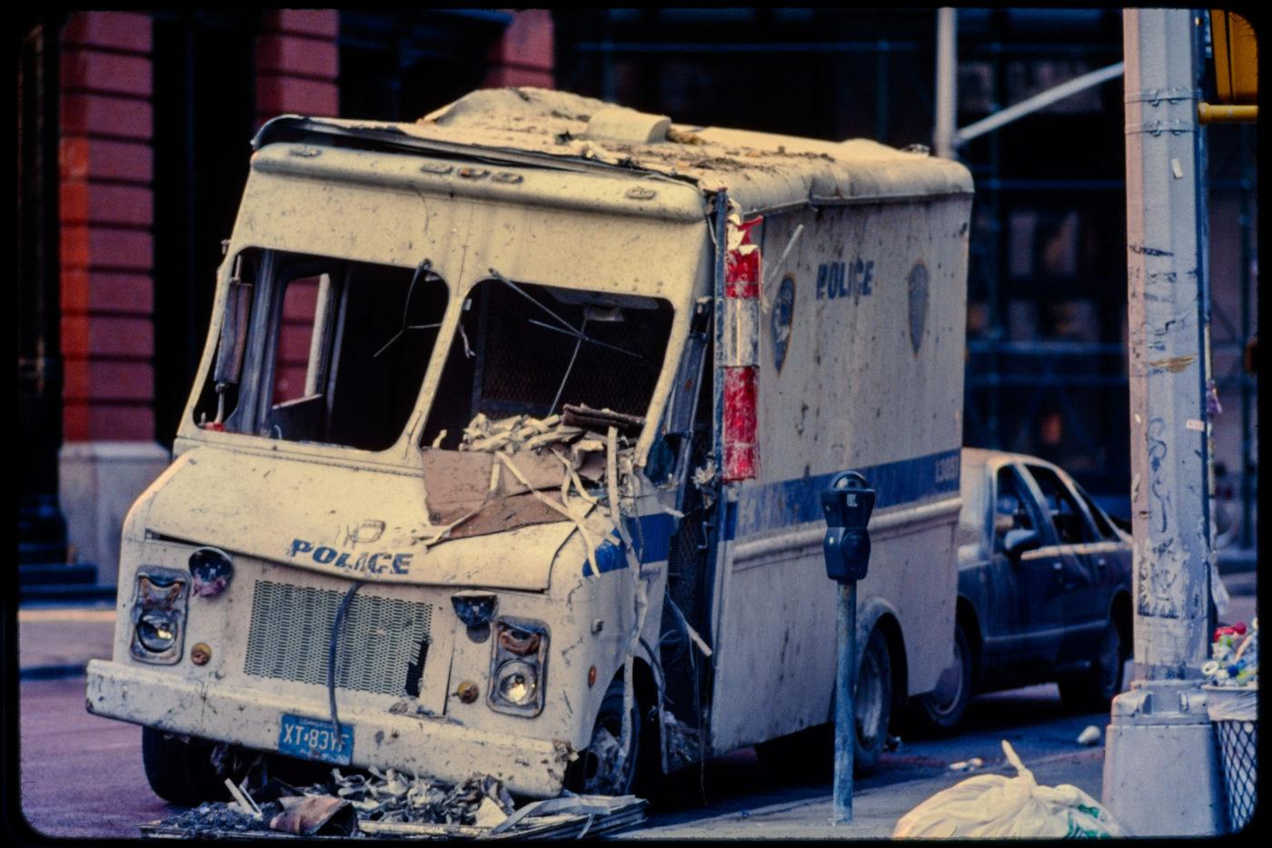 Debris and Destruction on Police Van Near Harrison and Greenwich Streets.jpg