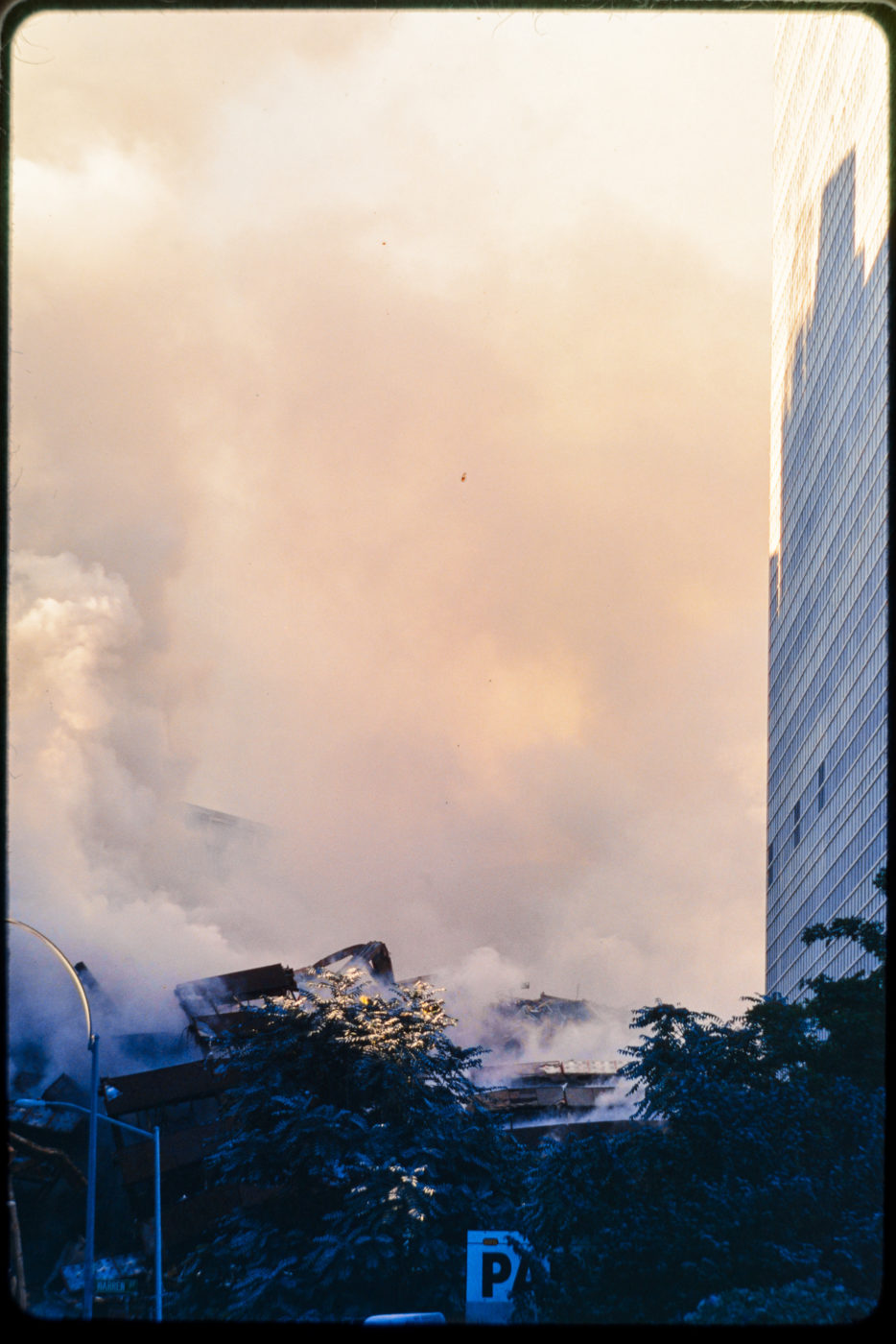 Huge Clouds of Smoke After Attack, Viewed Facing North on Greenwich Street.jpg