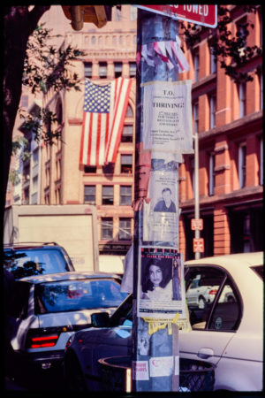 Light Post with Tribeca Organization Flyer, Several Missing Persons Flyers, with the American Flag Displayed on a Nearby Building.jpg