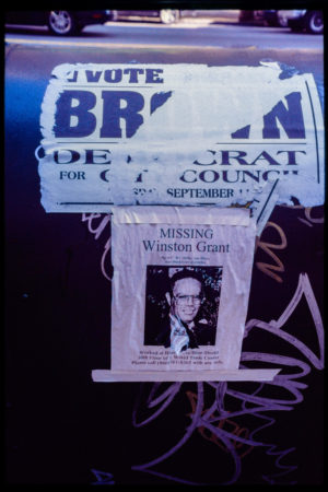 Missing Person Flyer, Winston Grant, Attached to a Mailbox which has an Advertisement for Brown, Democrat for City Council, Voting Day for the Primary was Scheduled for 911.jpg