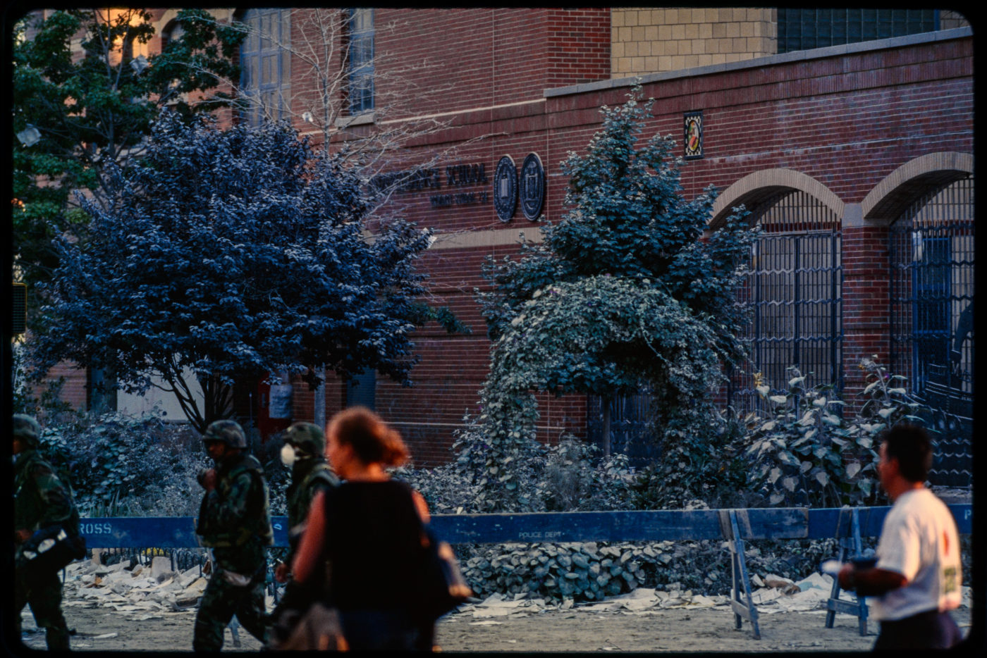 New Yorkers and Army pass by Police Line Outside 292 Greenwich Street, PS 234 Independence School.jpg