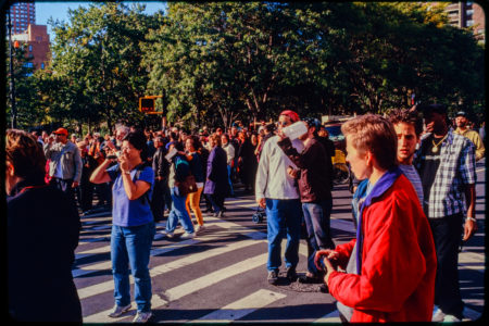 New Yorkers and Pedestrians in Road Near Chambers and Hudson Streets.jpg