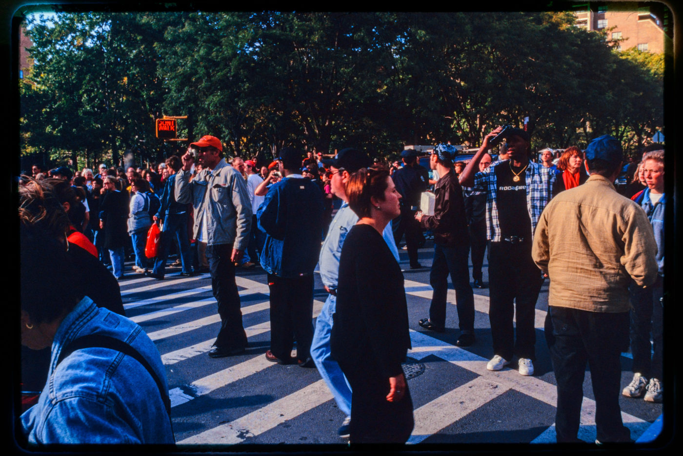 New Yorkers and Pedestrians Stand In Road Near Chambers and Hudson Streets.jpg