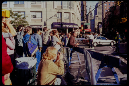 Pedestrians and New Yorkers Stand on the Corner of Greenwich in Huge Crowd.jpg