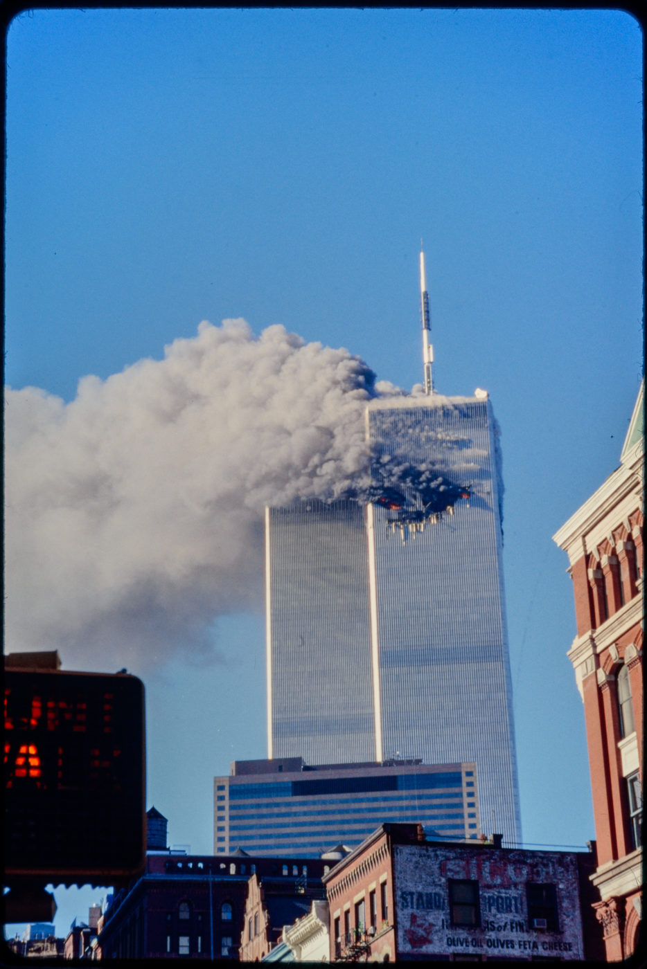 Tower 1 Burning as seen from Franklin and Hudson Streets (2).jpg