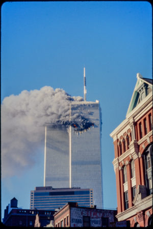 Tower 1 Burning as seen from Franklin and Hudson Streets.jpg