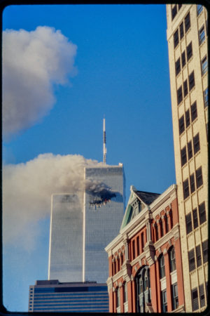 Tower 1 Burning infront of 97 Hudson Street from Hudson and Franklin.jpg
